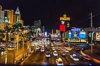Las Vegas, Nevada.  Las Vegas Boulevard, The Strip, at Night.