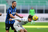 Danilo D'Ambrosio of FC Internazionale and Simone Verdi of Torino FC compete for the ball during the Serie A football match between FC Internazionale and Torino FC at stadio San Siro in Milano (Italy), November 22th, 2020. Photo Image Sport / Insidefoto