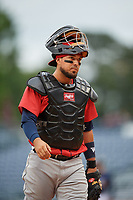Jacksonville Jumbo Shrimp catcher Santiago Chavez (13) during a Southern League game against the Mississippi Braves on May 4, 2019 at Trustmark Park in Pearl, Mississippi.  Mississippi defeated Jacksonville 2-0.  (Mike Janes/Four Seam Images)