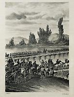 Spain (1808). Peninsular War. The Frebnch troops crossing the Bidasoa river. Litography. SPAIN. Barcelona. Biblioteca de Catal