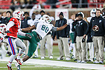 Tulane Green Wave wide receiver Andrew Hicks (80) in action during the game between the Tulane Green Wave and the SMU Mustangs at the Gerald J. Ford Stadium in Dallas, Texas.