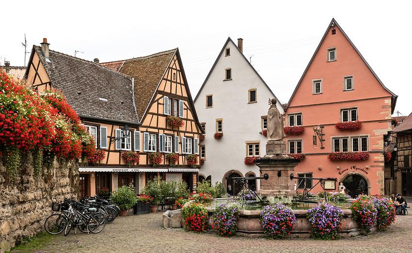 The Place du Château Saint-Léon, the main square of Eguisheim, Alsace