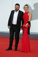 """VENICE, ITALY - SEPTEMBER 08: Gennaro Gattuso and Monica Romano attend the red carpet of the movie """"Freaks Out"""" during the 78th Venice International Film Festival on September 08, 2021 in Venice, Italy. (Photo by Mark Cape/Insidefoto)"""