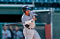 3 September 2018: Tri-City ValleyCats infielder Juan Pineda in action against the Vermont Lake Monsters at Centennial Field in Burlington, Vermont. The Lake Monsters defeated the ValleyCats 9-6 in the last game of the 2018 NY Penn League regular season. Mandatory Credit: Ed Wolfstein Photo *** RAW (NEF) Image File Available ***