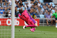 ST. PAUL, MN - AUGUST 21: Tyler Miller #1 of Minnesota United FC with a save during a game between Sporting Kansas City and Minnesota United FC at Allianz Field on August 21, 2021 in St. Paul, Minnesota.
