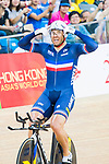 Francois Pervis of France celebrates winning in the Men's Kilometre TT Final during the 2017 UCI Track Cycling World Championships on 16 April 2017, in Hong Kong Velodrome, Hong Kong, China. Photo by Marcio Rodrigo Machado / Power Sport Images