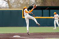 Tennessee Volunteers second baseman Max Ferguson (2) in action against the LSU Tigers on Robert M. Lindsay Field at Lindsey Nelson Stadium on March 28, 2021, in Knoxville, Tennessee. (Danny Parker/Four Seam Images)