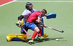 Ruan BEZUIDENHOUT (L) looks to stop George Connell. Northern Tridents v Southern Alpiners. Sentinel Homes Hockey Men's Premier League Waikato Hockey, Hamilton, New Zealand. Sunday 22 November 2020. Photo: Simon Watts/www.bwmedia.co.nz/HockeyNZ
