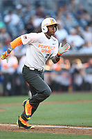 Francisco Thomas (25) of the East team runs to first base during the 2015 Perfect Game All-American Classic at Petco Park on August 16, 2015 in San Diego, California. The East squad defeated the West, 3-1. (Larry Goren/Four Seam Images)