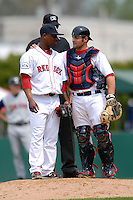 Pitcher Jason Rice #45 and catcher Mike McKenry #5 of the Pawtucket Red Sox confer on the mound during a game versus the Toledo Mud Hens on May 3, 2011 at McCoy Stadium in Pawtucket, Rhode Island. Photo by Ken Babbitt /Four Seam Images