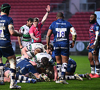 1st January 2021; Ashton Gate Stadium, Bristol, England; Premiership Rugby Union, Bristol Bears versus Newcastle Falcons; Referee Christopher Ridley signals a try for a Philip van der Walt of Newcastle Falcons