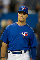 Toronto Blue Jays coach Brian Butterfield #55 during batting practice before a game against the Boston Red Sox at Rogers Centre on June 3, 2012 in Toronto, Ontario.  (Mike Janes/Four Seam Images)