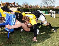 Photo:Richard Lane/Richard Lane Photography. London Wasps training. 15/02/2012. Wasps' Joe Launchbury back in full training after injury.