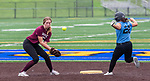 WATERBURY, CT 071321JS06 WCA's Mikayla Krawitz(20) safely steals second base as the ball skips past Naugatuck's Quinn Berry during their Joan Joyce softball league game Tuesday at Municipal Stadium in Waterbury. <br />  Jim Shannon Republican American