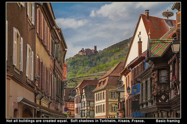 France, Alsace.  Framing Your Image.<br /> Use framing to accentuate the distant castle. Soft shadows allow for great detail and color saturation throughout the entire image.