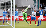 QoS keeper Zander Clark is helpless as Dean Shiels' header sails past his gloive and into the net