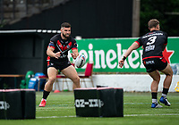 Abbas Miski of London Broncos warms up during the Betfred Championship match between London Broncos and Newcastle Thunder at The Rock, Rosslyn Park, London, England on 9 May 2021. Photo by Liam McAvoy.