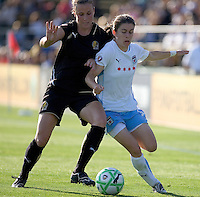 Leigh Ann Robinson (left) and Karen Carney (right) battle for the ball. FC Gold Pride and Chicago Red Stars tied 1-1 at Buck Shaw Stadium in Santa Clara, California on June 7, 2009.