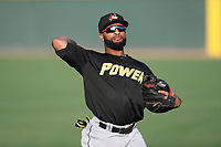 Outfielder J.R. Davis (6) of the West Virginia Power warms up before a game against the Greenville Drive on Friday, May 17, 2019, at Fluor Field at the West End in Greenville, South Carolina. West Virginia won, 10-4. (Tom Priddy/Four Seam Images)