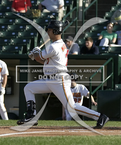 June 1, 2004:  Catcher Joe Mauer (7) of the Rochester Red Wings, Triple-A International League affiliate of the Minnesota Twins, during a game at Frontier Field in Rochester, NY.  Photo by:  Mike Janes/Four Seam Images