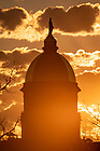 May 7, 2020; Sunrise behind the Dome (Photo by Matt Cashore/University of Notre Dame)