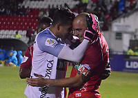 TUNJA- COLOMBIA, 14-09-2018:Omar Pérez jugador de  Patriotas Boyacá celebra su gol contra el Atlético Huila  durante partido por la fecha 10 de la Liga Águila II 2018 jugado en el estadio La Independencia de la ciudad de Tunja. /Omar Perez player of Patriotas Boyaca celebrates his goal  against of  Atletico Huila  during the match for the date 10 of the Liga Aguila II 2018 played at the La Independencia stadium in Tunja city. Photo: VizzorImage / José Miguel Palencia / Contribuidor
