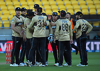 The Black Caps celebrate dismissing Matthew Wade during the 4th international men's T20 cricket match between the New Zealand Black Caps and Australia at Sky Stadium in Wellington, New Zealand on Friday, 5 March 2021. Photo: Dave Lintott / lintottphoto.co.nz
