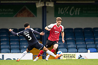 Nathan Ralph, Southend United thwarts Charlie Raglan, Cheltenham Town as he brings the ball out from the back during Southend United vs Cheltenham Town, Sky Bet EFL League 2 Football at Roots Hall on 17th October 2020