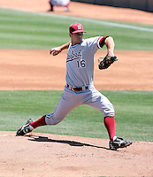 Jordan Pries #16 of the Stanford Cardinal pitches against the Arizona State Sun Devils on May 1, 2011 at Packard Stadium, Arizona State University, in Tempe, Arizona. .Photo by:  Bill Mitchell/Four Seam Images.
