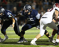 Jack Struebing (55) of Springdale Har-ber blocking Friday, Oct. 8, 2021, during the first half of play at Wildcat Stadium in Springdale. Visit nwaonline.com/211009Daily/ for today's photo gallery.<br /> (Special to the NWA Democrat-Gazette/David Beach)