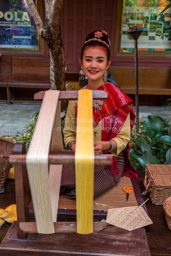 Bangkok, Thailand.  Spinning Thai Silk.