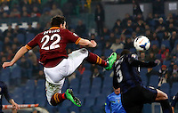 Calcio, Serie A: Roma vs Inter. Roma, stadio Olimpico, 1 marzo 2014.<br /> AS Roma forward Mattia Destro fouls FC Inter defender Juan Jesus, of Brazil, during the Italian Serie A football match between AS Roma and FC Inter at Rome's Olympic stadium, 1 March 2014.<br /> UPDATE IMAGES PRESS/Riccardo De Luca