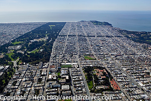 aerial photograph Richmond District residential neighborhood San Francisco California