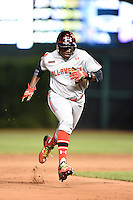 Demi Orimoloye (27) of St. Matthew High School in Orleans, Ontario, Canada during the Under Armour All-American Game on August 16, 2014 at Wrigley Field in Chicago, Illinois.  (Mike Janes/Four Seam Images)
