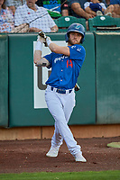 Andrew Shaps (14) of the Ogden Raptors waits on deck to bat against the Orem Owlz at Lindquist Field on September 3, 2019 in Ogden, Utah. The Raptors defeated the Owlz 12-0. (Stephen Smith/Four Seam Images)