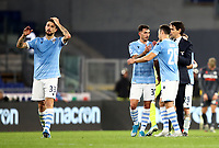 Football, Serie A: S.S. Lazio - Udinese Olympic stadium, Rome, December 1, 2019. <br /> Lazio's coach Simone Inzaghi (r) celebrates with his teammates after winning 3-0 the Italian Serie A football match between S.S. Lazio and Udinese at Rome's Olympic stadium, Rome on December 1, 2019.<br /> UPDATE IMAGES PRESS/Isabella Bonotto