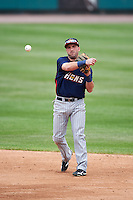 Toledo Mudhens second baseman Tyler Bortnick (22) throws to first base during a game against the Rochester Red Wings on June 12, 2016 at Frontier Field in Rochester, New York.  Rochester defeated Toledo 9-7.  (Mike Janes/Four Seam Images)