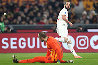 Gonzalo Higuain of Juventus and Pau Lopez of AS Roma compete for the ball<br /> Roma 12-01-2020 Stadio Olimpico <br /> Football Serie A 2019/2020 AS Roma - Juventus FC<br /> Photo Cesare Purini / Insidefoto