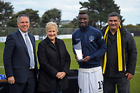 Deryck Shaw, Annette King, Golden Boot Joao Moreira and Paul Eagle with the golden boot award after the Oceania Football Championship final (second leg) football match between Team Wellington and Auckland City FC at David Farrington Park in Wellington, New Zealand on Sunday, 7 May 2017. Photo: Dave Lintott / lintottphoto.co.nz