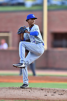 Bluefield Blue Jays starting pitcher Nathaneal Perez (28) delivers a pitch during a game against the Greeneville Reds at Pioneer Park on June 30, 2018 in Greeneville, Tennessee. The Blue Jays defeated the Red 7-3. (Tony Farlow/Four Seam Images)