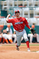 Lakewood BlueClaws third baseman Dalton Guthrie (5) throws to first base during a game against the Greensboro Grasshoppers on June 10, 2018 at First National Bank Field in Greensboro, North Carolina.  Lakewood defeated Greensboro 2-0.  (Mike Janes/Four Seam Images)