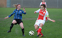 20150428 - VARSENARE , BELGIUM : duel pictured between Standard's Maud Coutereels (right) and Brugge's Sharon Goemaere (left) during the soccer match between the women teams of Club Brugge Vrouwen and Standard de Liege Femina , on the 24th matchday of the BeNeleague competition Tuesday 28 th April 2015 in Varsenare . PHOTO DAVID CATRY