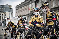 defending champion Primoz Roglic (SVN/Jumbo-Visma) at the race start in LIège<br /> <br /> 107th Liège-Bastogne-Liège 2021 (1.UWT)<br /> 1 day race from Liège to Liège (259km)<br /> <br /> ©kramon