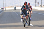 The lead group featuring Adam Yates (GBR) Ineos Grenadiers and race leader Red Jersey Tadej Pogacar (SLO) UAE Team Emirates on the final climb up Jebel Hafeet during Stage 3 of the 2021 UAE Tour running 166km from Al Ain to Jebel Hafeet, Abu Dhabi, UAE. 23rd February 2021.  <br /> Picture: LaPresse/Fabio Ferrari | Cyclefile<br /> <br /> All photos usage must carry mandatory copyright credit (© Cyclefile | LaPresse/Fabio Ferrari)
