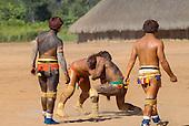 Xingu Indigenous Park, Mato Grosso State, Brazil. Aldeia Waura. Huka-Huka fighting practice.