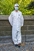 """I had to ask about the hazmat suit. This young woman came from China to New York to study at Columbia University for a year. The coronavirus pandemic first hit her home country and then in an ironic twist of fate she and her friend found themselves stuck here in the New York epicenter with no way to get back to China. She bought the hazmat suit on Amazon. """"Does it make you feel safer?"""" I asked. """"I don't know,"""" she laughed, """" but it makes my family in China feel better."""""""