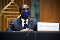 Adewale Adeyemo is seen during his Senate Finance Committee nomination hearing to be the next Deputy Treasury Secretary on Tuesday, February 23, 2021 at Capitol Hill in Washington, D.C.<br /> Credit: Greg Nash / Pool via CNP /MediaPunch