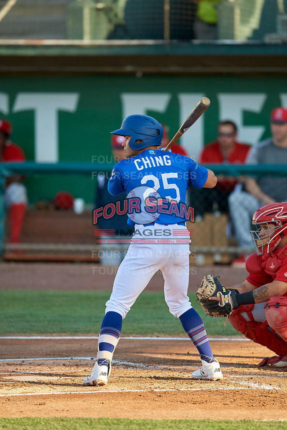 Zac Ching (25) of the Ogden Raptors at bat against the Orem Owlz at Lindquist Field on July 27, 2019 in Ogden, Utah. The Raptors defeated the Owlz 14-1. (Stephen Smith/Four Seam Images)