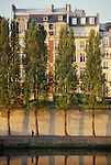 Paris, France, River Seine, 6th Arrondissement, Dawn light on the architecture the Left bank, St-Germain des Pres, Europe.