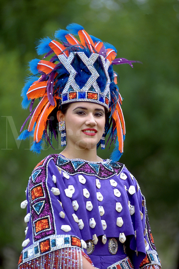 Washington s Birthday Celebration. Parade. A representative of The Princess Pocahontas Council which has a pageant featuring highly stylized Indian costumes in honor of Pocahontas. Laredo Texas USA.